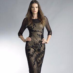Basix Black Label sheer beaded long sleeve gown